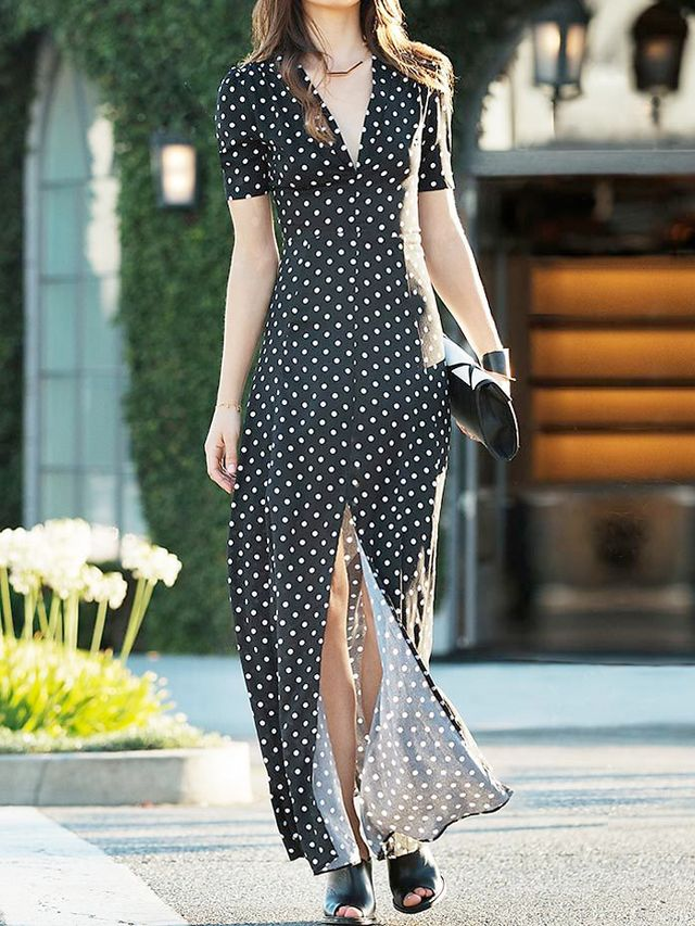 DailyLook Sultry Polka Dot Maxi Dress