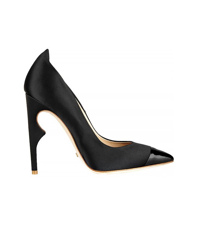 Jerome C. Rousseau Flicker Satin and Patent-Leather Pumps