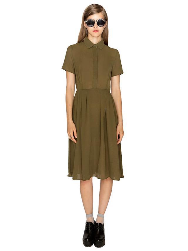 Pixie Market Cadet Olive Chiffon Shirtdress