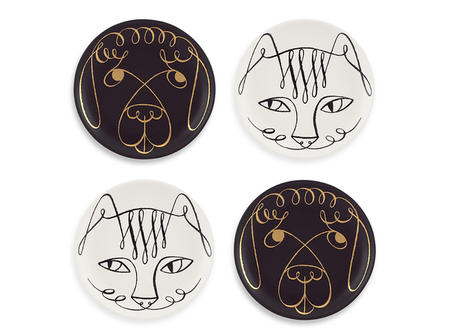 Kate Spade New York Woodland Park Set of 4 Cat and Dog Coasters