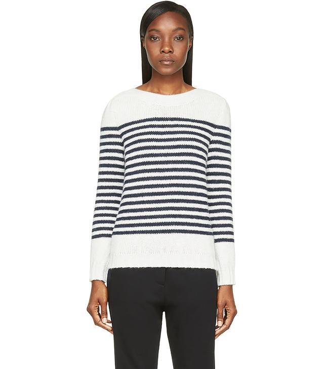 A.P.C. Grey & Navy Angora Blend Marin Sweater