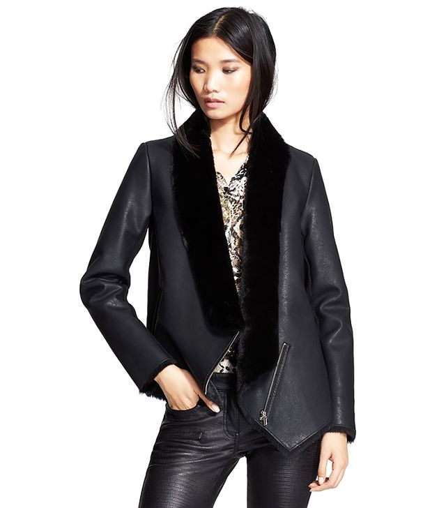 The Kooples Faux Leather Jacket with Faux Fur