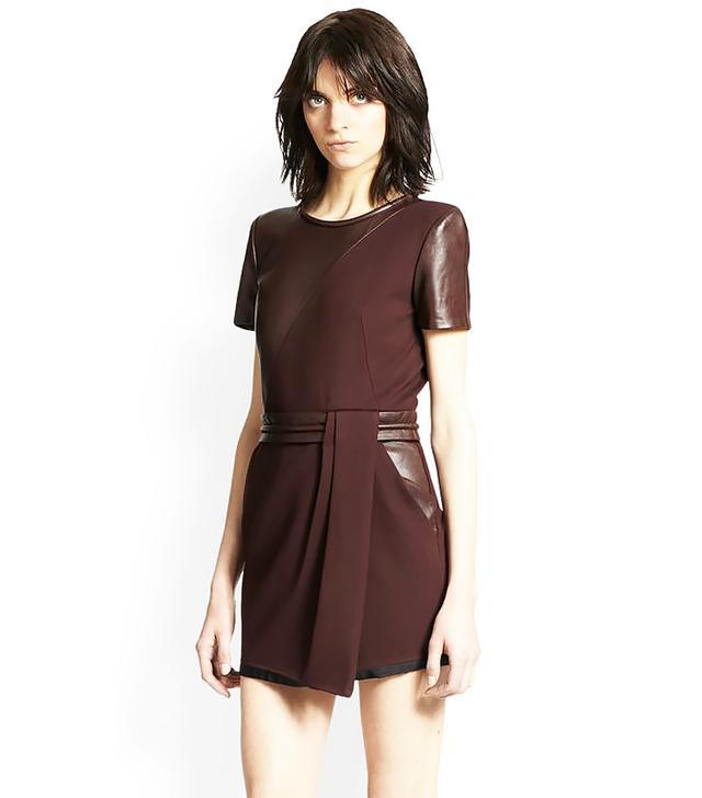 The Kooples Leather-Paneled Crepe Dress