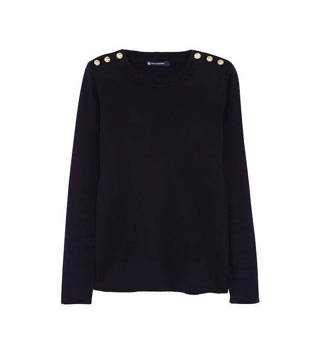 Petite Bateau Buttoned Cotton Sweater