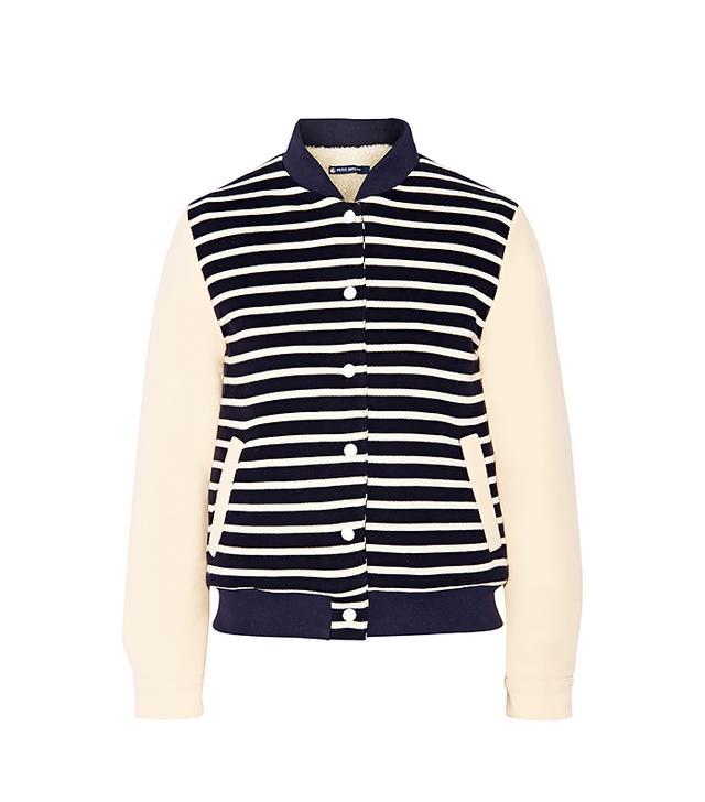 Petite Bateau Faux Shearling-Lined Striped Cotton-Jersey Jacket