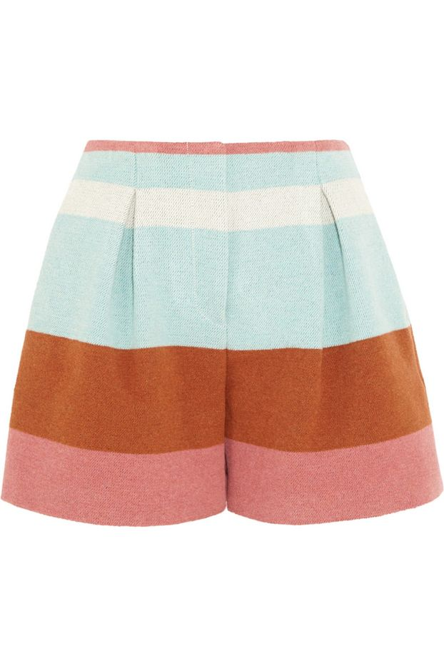 See by Chloé Striped Woven Felt Shorts