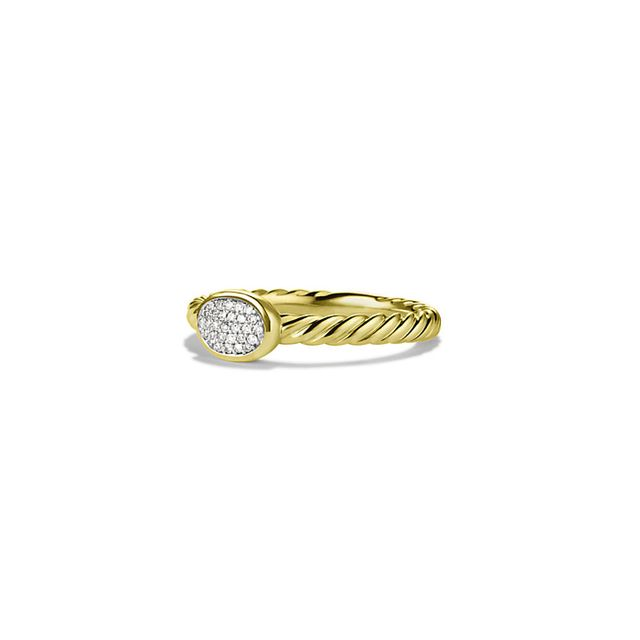 Cable Collectibles Oval Ring with Diamonds in Gold David Yurman