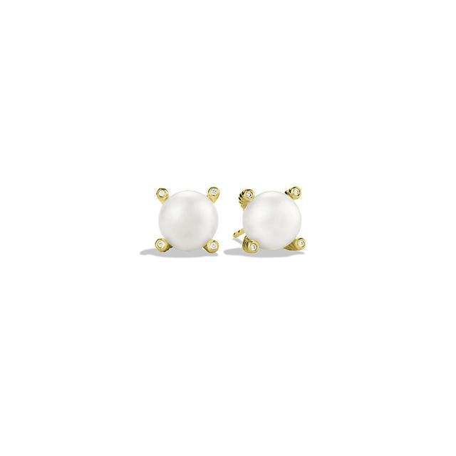 Pearl Earrings with Diamonds in Gold David Yurman