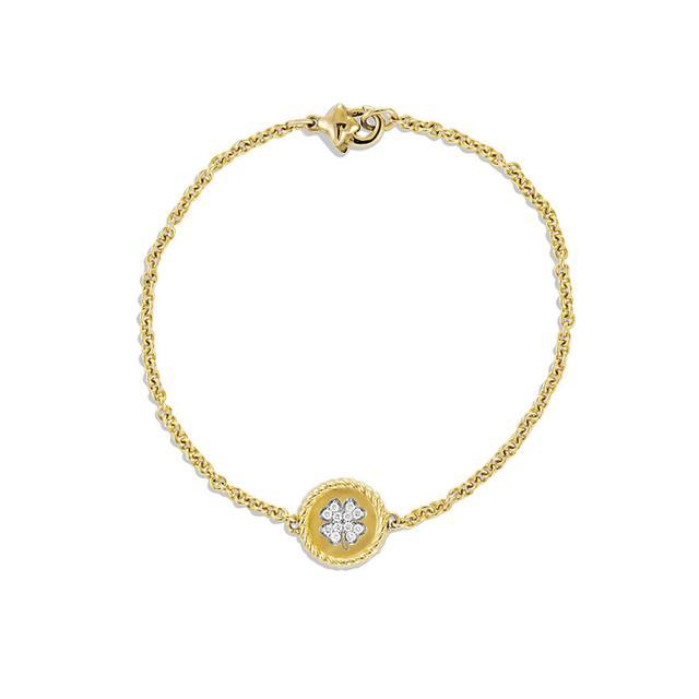 Pavé Cable Four Leaf Clover Charm Bracelet with Diamonds in Gold David Yurman