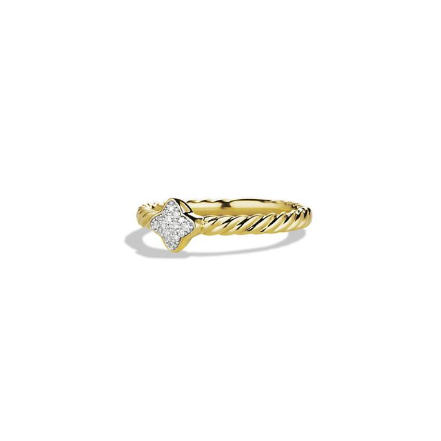 Quatrefoil Ring with Diamonds in Gold David Yurman