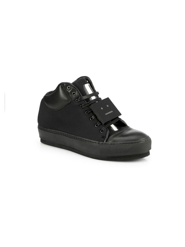 Acne Studios Face-Accent Leather & Suede Sneakers in Black