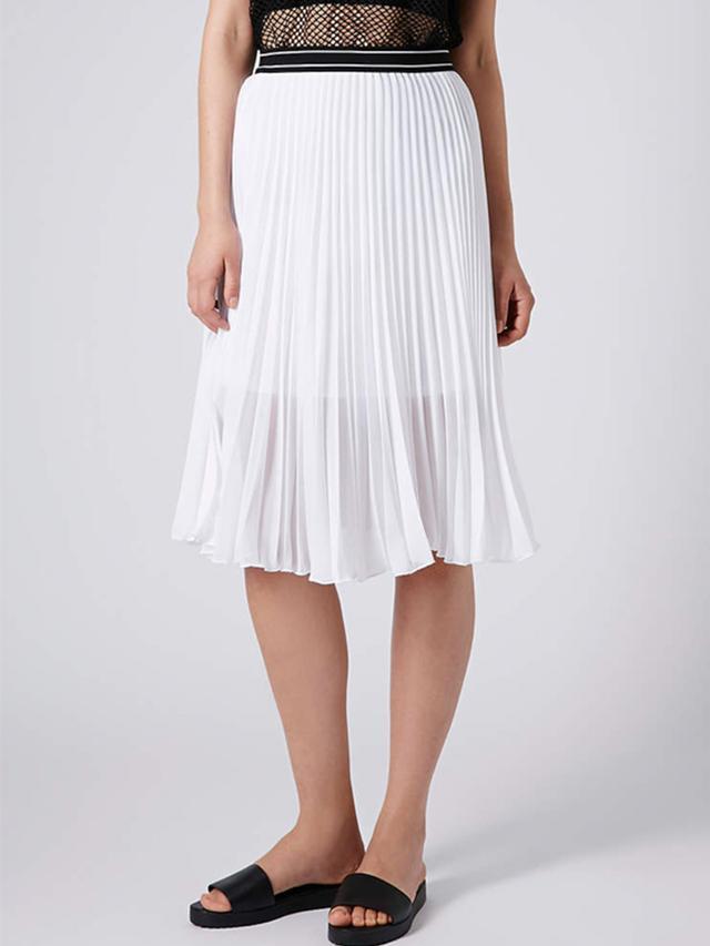 Topshop Sport Waistband Pleat Midi Skirt in White