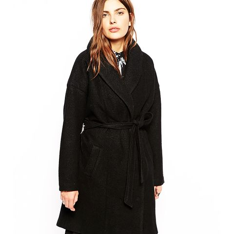 Belted Coat With Oversized Collar