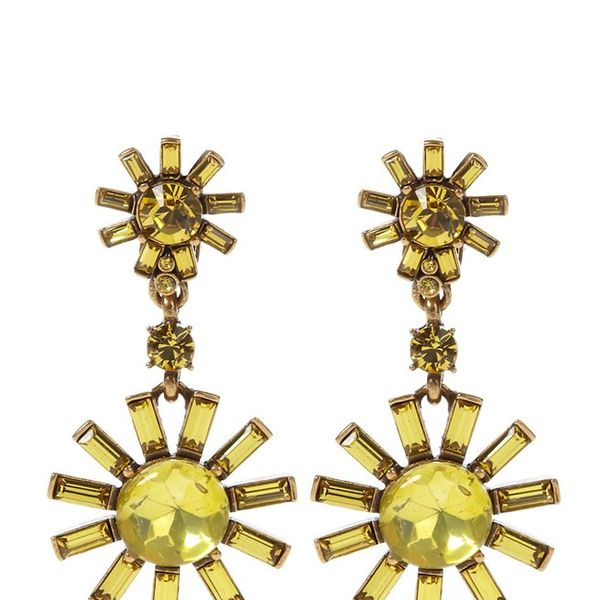Oscar de la Renta  Swarovski Starburst Drop Clip Earrings