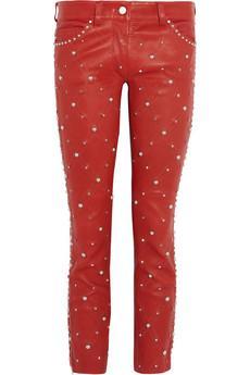 Isabel Marant Duncan Embellished Cropped Leather Pants