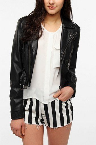 Sparkle & Fade  Cropped Faux Leather Moto Jacket