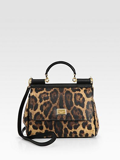 Dolce & Gabbana  Sicily Leopard-Printed Coated Canvas Satchel
