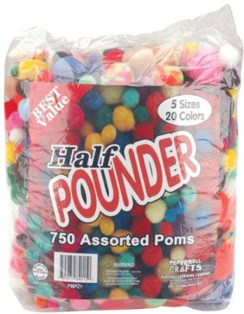 Pepperell Craft Assorted Color Pom Poms