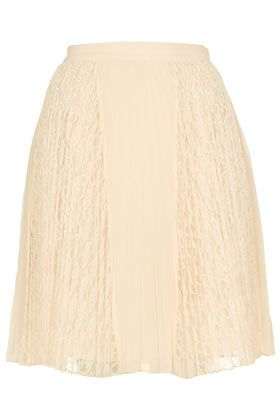 Topshop  Cream Lace Pleat Skirt
