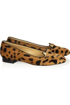 Charlotte Olympia  Kitty Embroidered Animal-Print Calf Hair Slippers