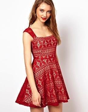 Viva Vena  Claire Square Neck Dress in Lace