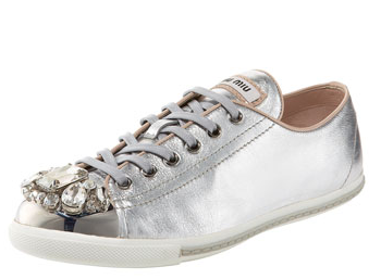 Miu Miu Jeweled Cap-Top Sneakers