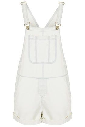 Topshop Moto White Denim Dungaree