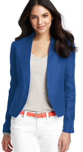 Loft Herringbone Linen Collarless Jacket