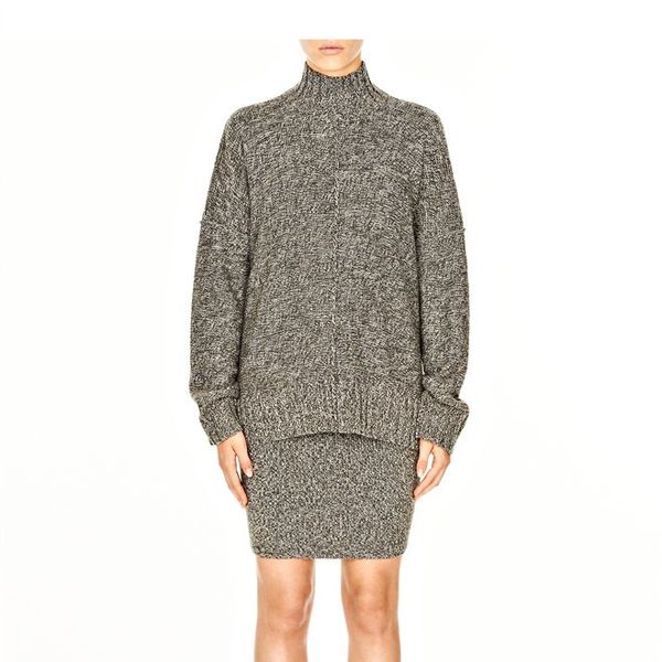 T by Alexander Wang Wool Acrylic Marled Mockneck Sweater