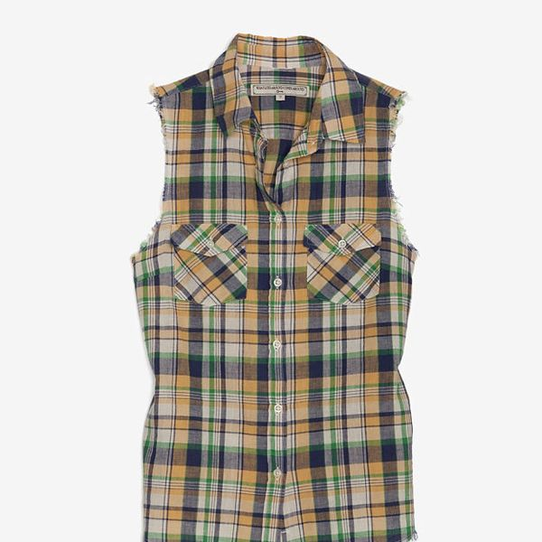 What Goes Around Come Around  Plaid Cut Off Sleeve Shirt