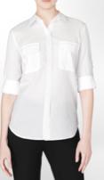 Calvin Klein White Sheet Seersucker Roll-up Sleeve Shirt