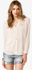 Forever 21 Floral Embroidered Georgette Shirt