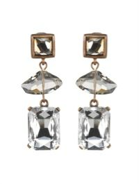 Oscar de la Renta Oscar de la Renta Geometric Crystal Bead Drop Earrings