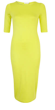 River Island Lime Half Sleeve Midi Column Dress