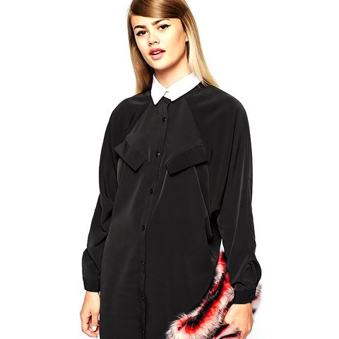 Tuxedo Collar Shirt Dress