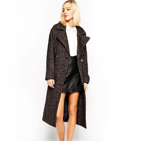 Longline Herringbone Coat