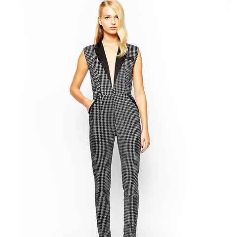 Tuxedo Jumpsuit With Plunge Neckline
