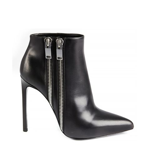 Black Leather Double Zipper Detailed Pointed Toe Ankle Boots