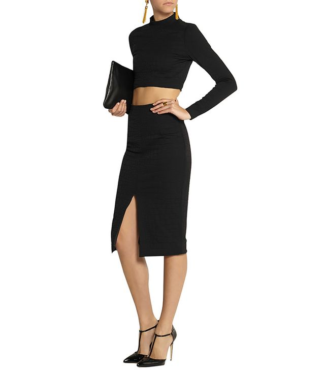Jonathan Simkhai Embossed Stretch-Jersey Pencil Skirt
