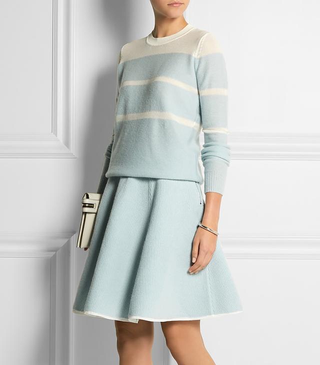 Sonia by Sonia Rykiel Bonded Wool and Chiffon Skirt