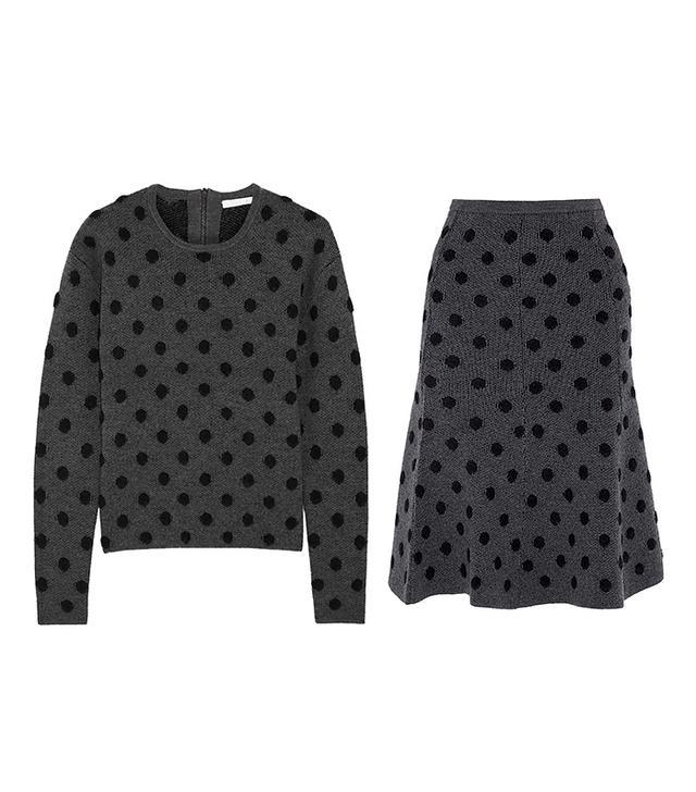 Thakoon Addition Polka-Dot Wool-Blend Skirt
