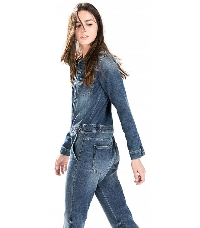 Zara Pleated Denim Jumpsuit