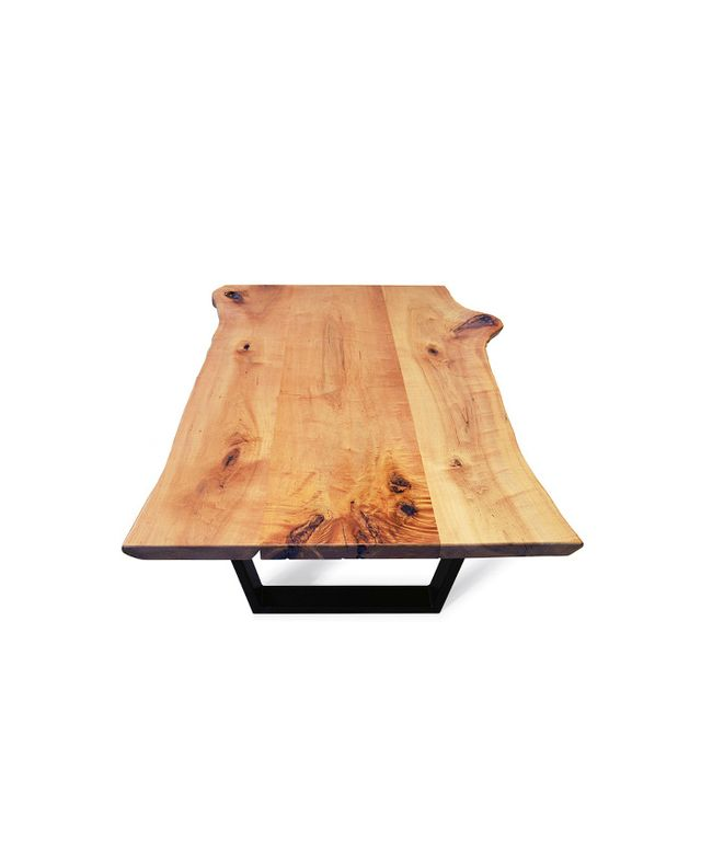 Etz & Steel Hard Maple Live-Edge Coffee Table with Steel Base