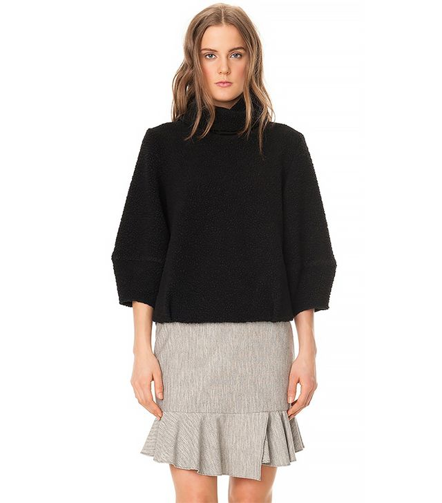 Tibi Cozy Boucle Cropped Sleeve Sweater