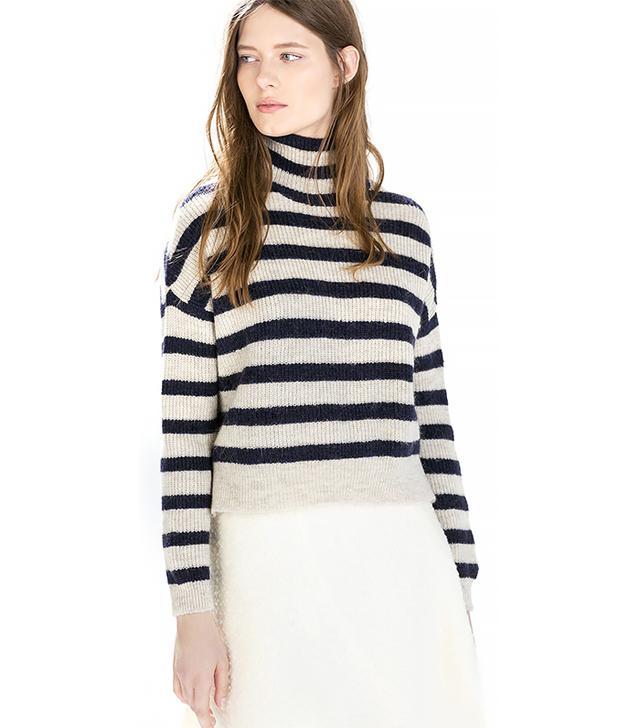 Zara Striped Turtleneck Sweater