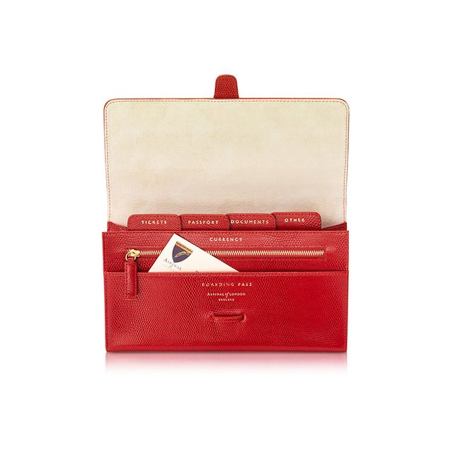 Aspinal of London Lizard and Suede Classic Travel Wallet
