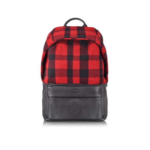 McQ Alexander McQueen Red Wool Plaid and Leather Backpack