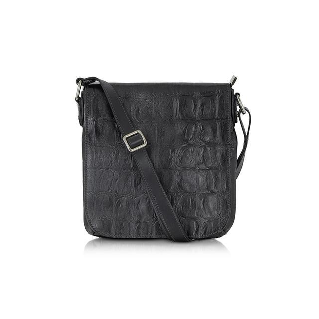 Robe Di Firenze Black Croco Stamped Italian Leather Crossbody Bag