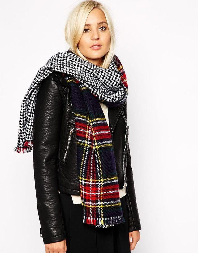 River Island Plaid and Houndstooth Double Sided Blanket Scarf