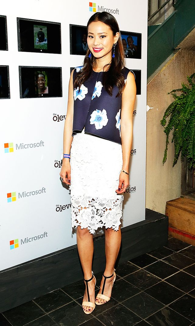 On Chung: Storets top and skirt; Isabel Marant earrings.